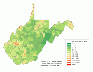 This is where the living are in West Virginia.  Locations of the undead TBD.