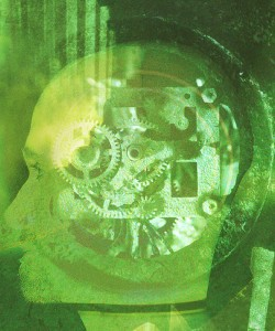 A green x-ray view of the gears and wheels turning inside a person's brain.