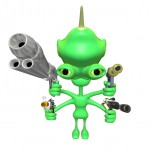 Green alien with four arms and pointing lots of guns are us.