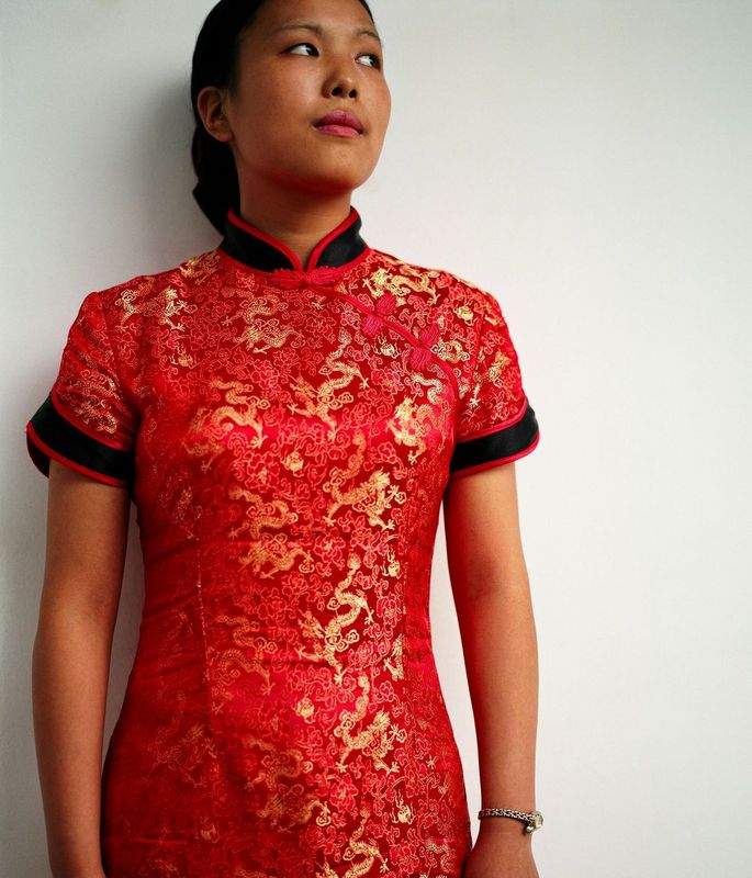 Chinese woman in a red dress