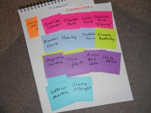 A character list by Post-it