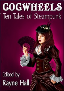 COGWHEELS Ten Tales of Steampunk Cover - Woman in Victorian Corset with a Fan