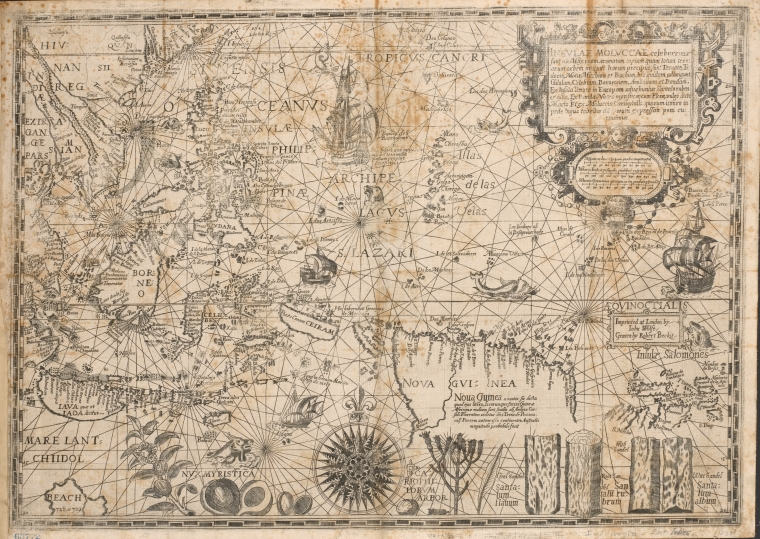 Old Map of Asia Black and White