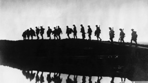This stark image of soldiers walking in the mist nicely expresses how little Hemingway provides in the way of setting and description.