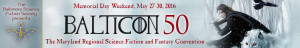 Balticon 50 Banner with dark swordsman and white wolf with bsfs logo